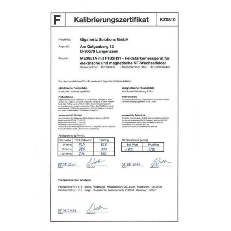 Certificado de calibración ME3851A / ME3951A